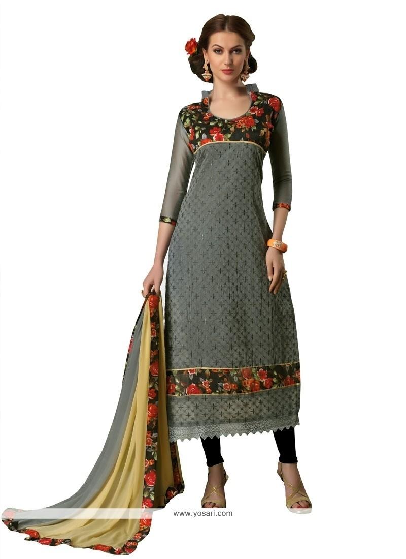 Stupendous Embroidered Work Chanderi Churidar Designer Suit