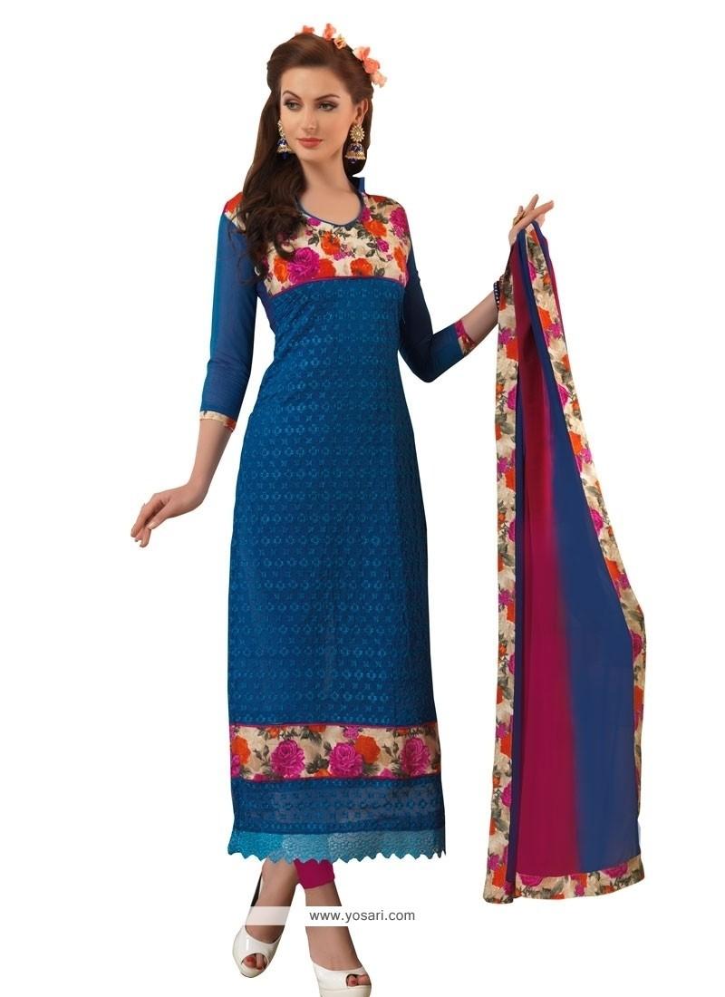 Blue Chanderi Churidar Designer Suit