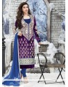Excellent Violet Velvet Churidar Suit
