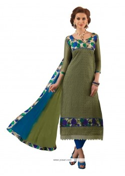 Baronial Green Chanderi Churidar Designer Suit
