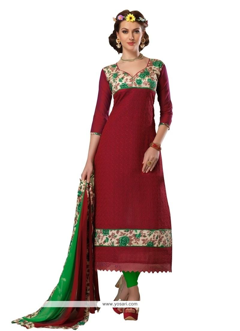 Sensible Patch Border Work Churidar Designer Suit