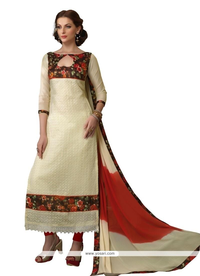 Pretty Patch Border Work Chanderi Churidar Designer Suit