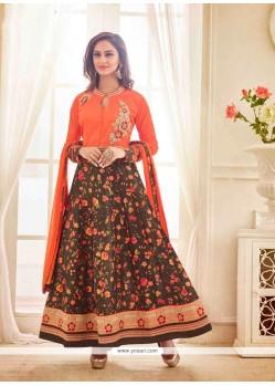 Bedazzling Bhagalpuri Silk Orange Anarkali Salwar Kameez