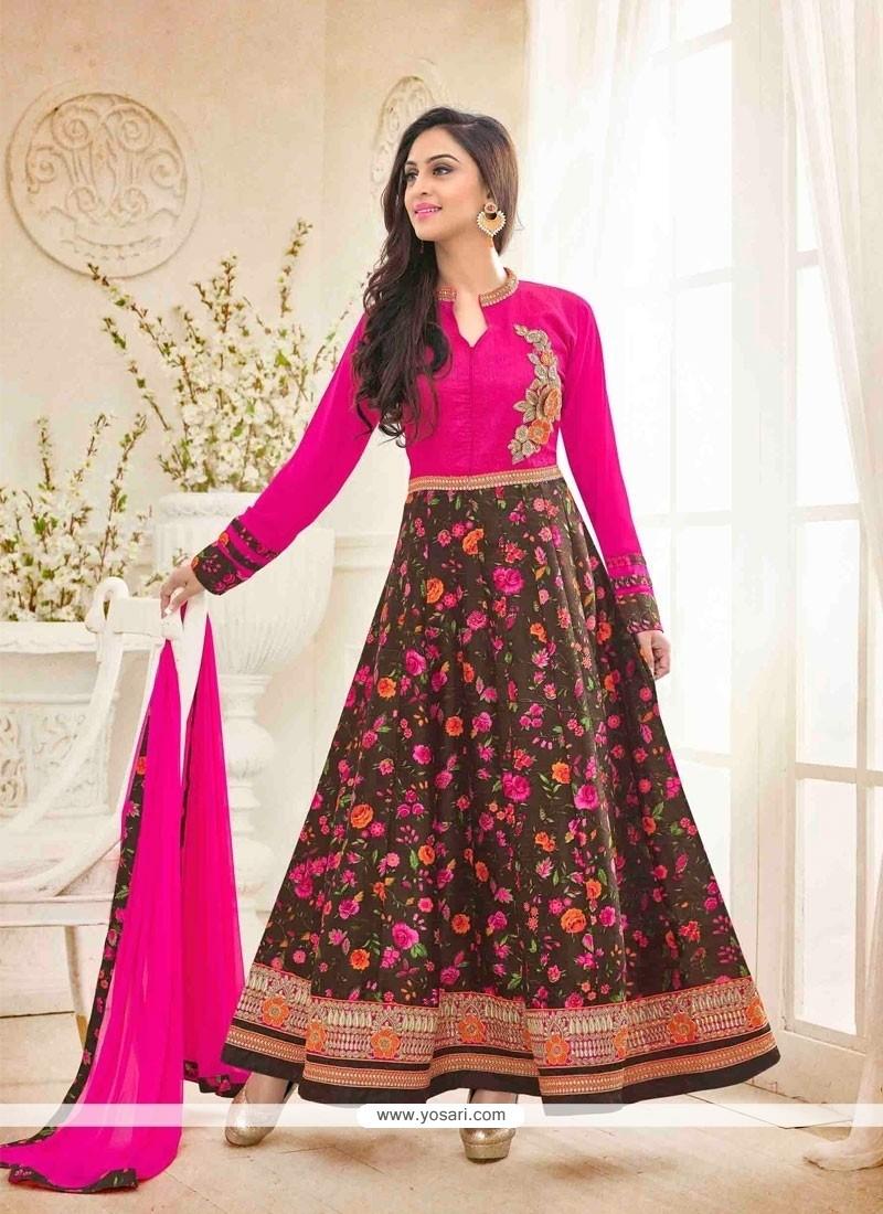 Attractive Bhagalpuri Silk Embroidered Work Anarkali Salwar Kameez