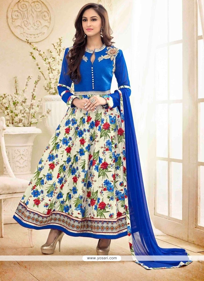 Debonair Patch Border Work Blue Bhagalpuri Silk Anarkali Salwar Kameez
