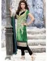 Epitome Green Resham Work Churidar Suit