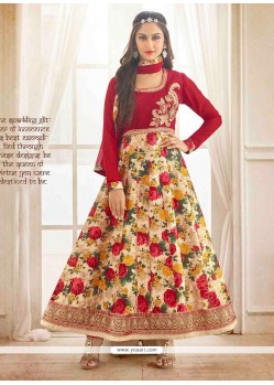 Demure Bhagalpuri Silk Red Patch Border Work Anarkali Salwar Kameez