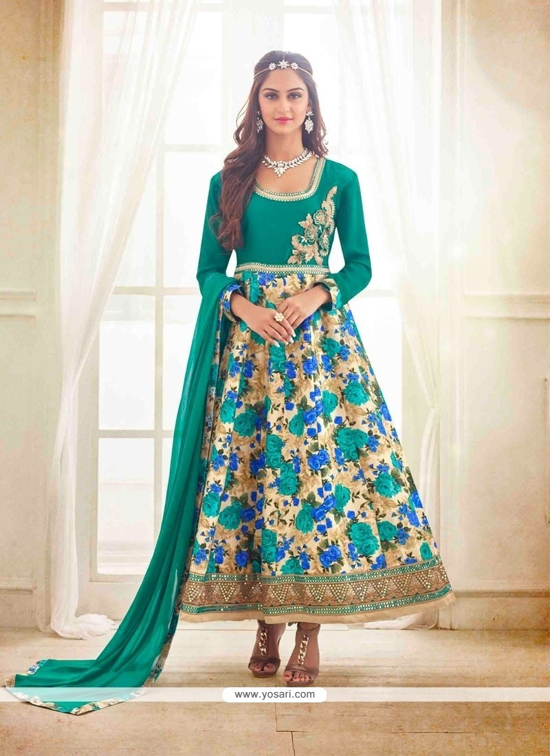 Pleasing Bhagalpuri Silk Green Patch Border Work Anarkali Salwar Kameez