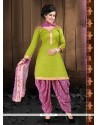 Tiptop Green Lace Work Cotton Designer Patiala Suit