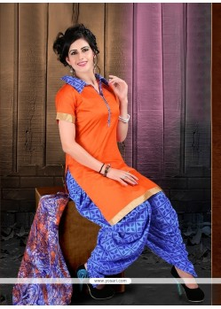 Lustrous Lace Work Orange Designer Patiala Suit