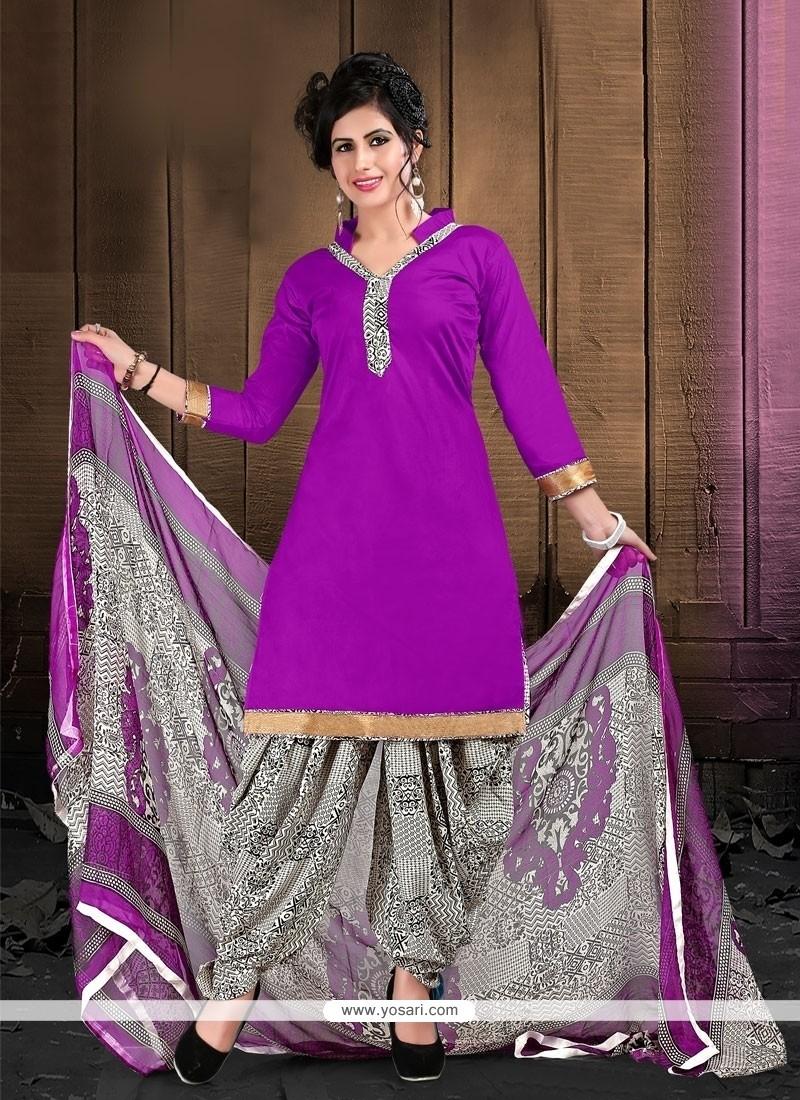 Imperial Purple Designer Patila Salwar Suit