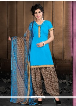 Aesthetic Turquoise Lace Work Cotton Designer Patiala Suit