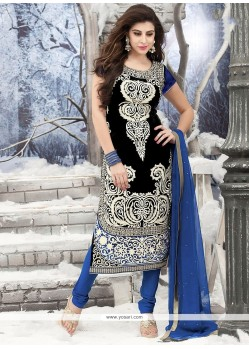 Deserving Black Velvet Churidar Suit
