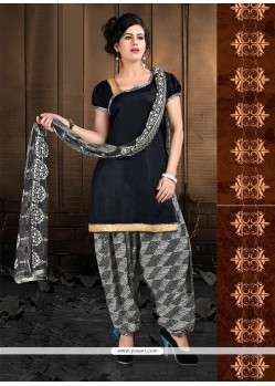 Glorious Black Lace Work Cotton Designer Patiala Suit
