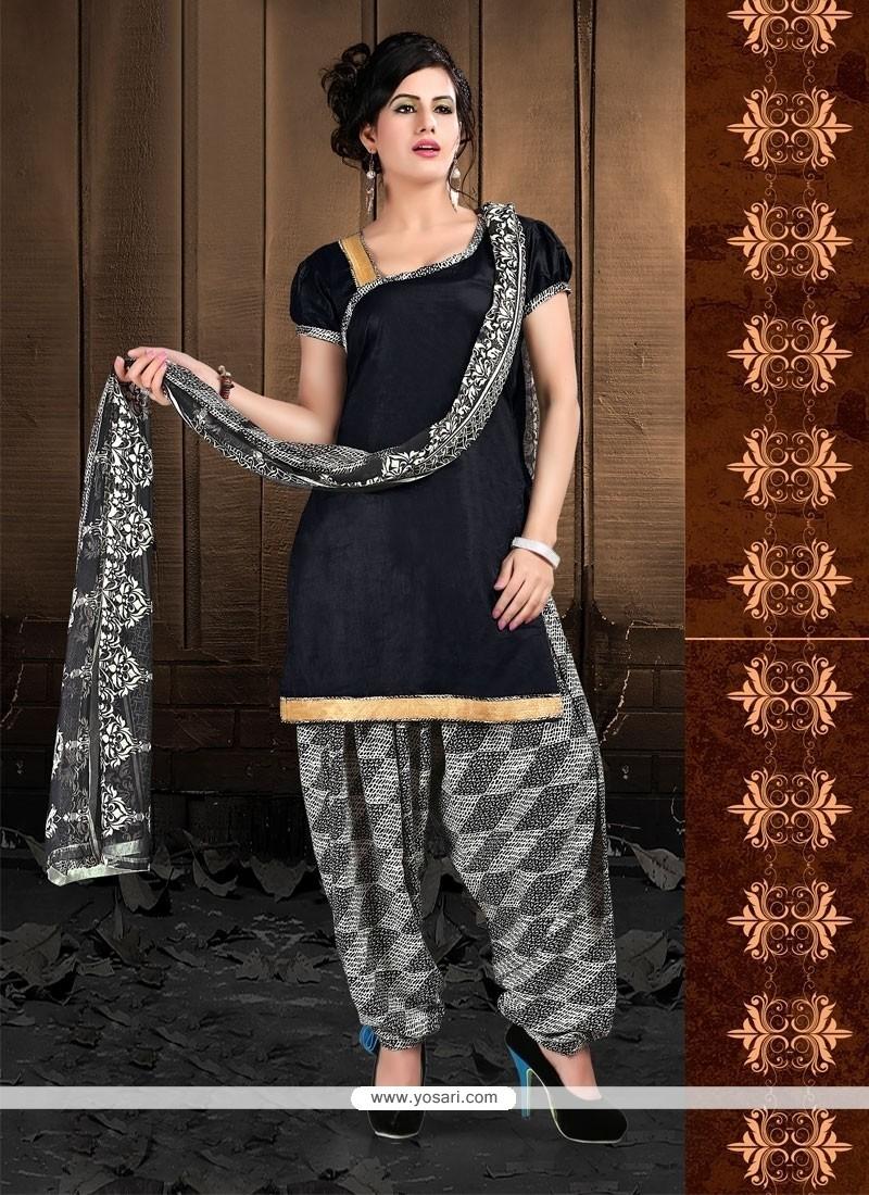 Glorious Black Lace Work Cotton Designer Patiala Suit