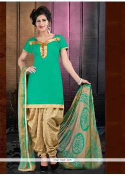 Magnetize Cotton Green Lace Work Designer Patiala Suit