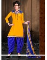 Masterly Cotton Yellow Lace Work Designer Patiala Suit