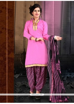 Gilded Lace Work Cotton Designer Patiala Salwar Kameez