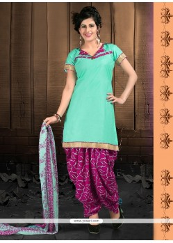 Classy Green Lace Work Designer Patiala Suit