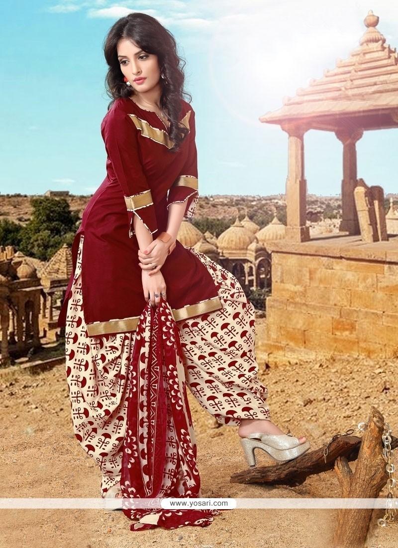 Marvelous Maroon Lace Work Cotton Designer Patiala Suit