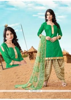 Outstanding Cotton Green Designer Patiala Suit