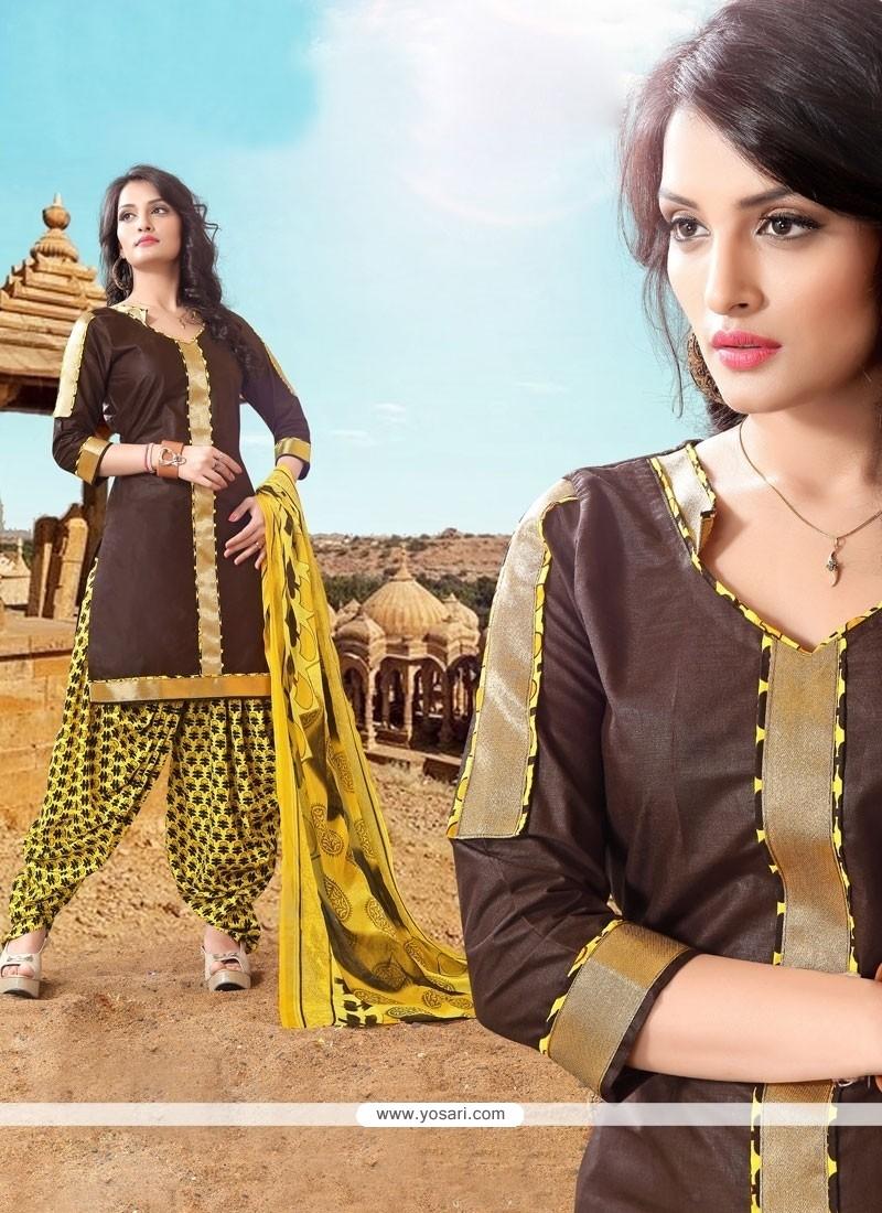 Exquisite Brown Designer Patila Salwar Suit