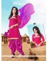 Savory Lace Work Hot Pink Designer Patiala Suit