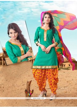 Dilettante Lace Work Green Cotton Designer Patiala Suit
