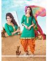 Dilettante Lace Work Green Cotton Designer Patiala Suit