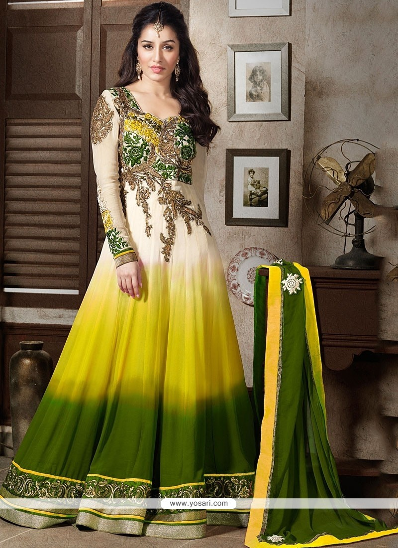 Shraddha Kapoor Yellow And Green Shaded Salwar Suit