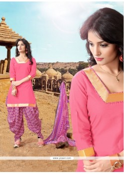 Celestial Cotton Pink Designer Patiala Suit