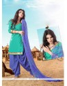 Demure Green Lace Work Cotton Designer Patiala Suit