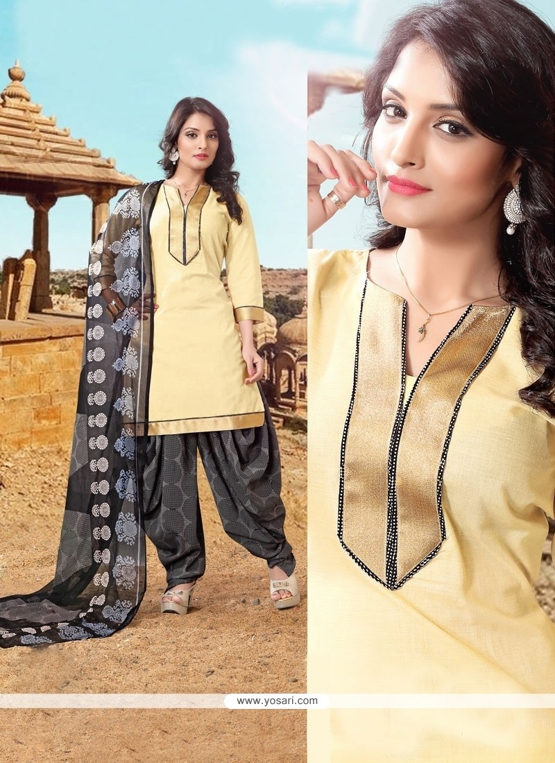 Hypnotizing Cotton Cream Lace Work Designer Patiala Suit