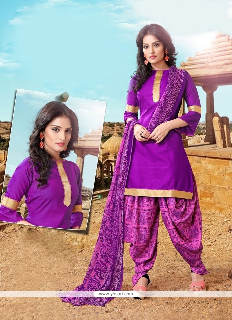 Elegant Lace Work Purple Designer Patiala Suit