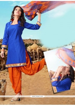 Staggering Lace Work Blue Cotton Designer Patiala Salwar Kameez