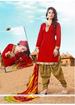 Appealing Cotton Red Lace Work Designer Patila Salwar Suit
