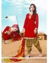 Appealing Cotton Red Lace Work Designer Patila Salwar Suit