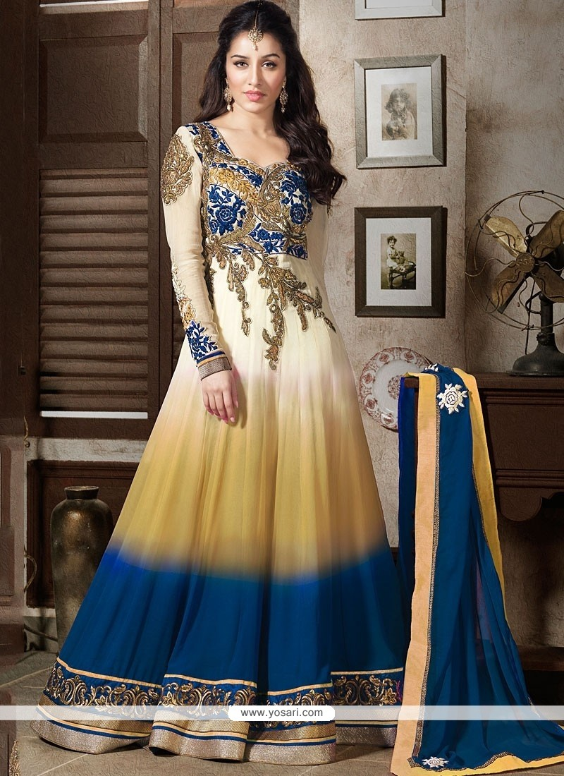 Shraddha Kapoor Cream And Beige Shaded Anarkali Suit
