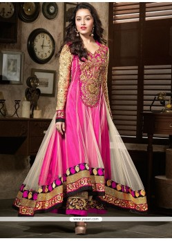 Shraddha Kapoor Pink And White Net Anarkali Suit
