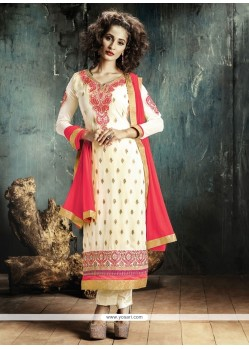 Exuberant Resham Work Georgette Designer Straight Salwar Kameez