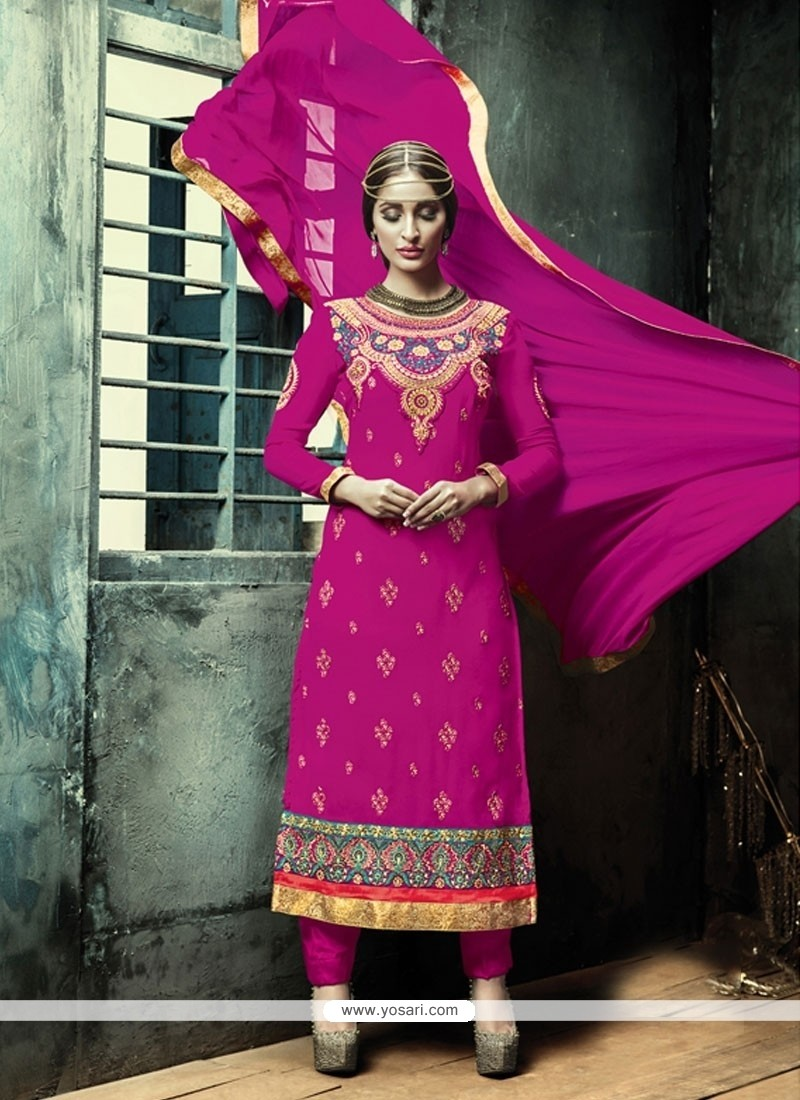 Swanky Georgette Designer Straight Salwar Kameez