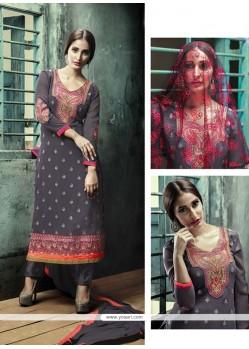 Compelling Grey Designer Straight Salwar Kameez