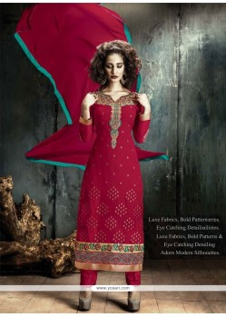 Specialised Georgette Red Designer Straight Salwar Kameez