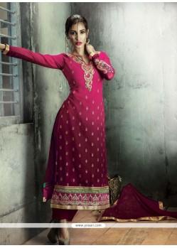 Classy Georgette Hot Pink Zari Work Designer Straight Salwar Kameez