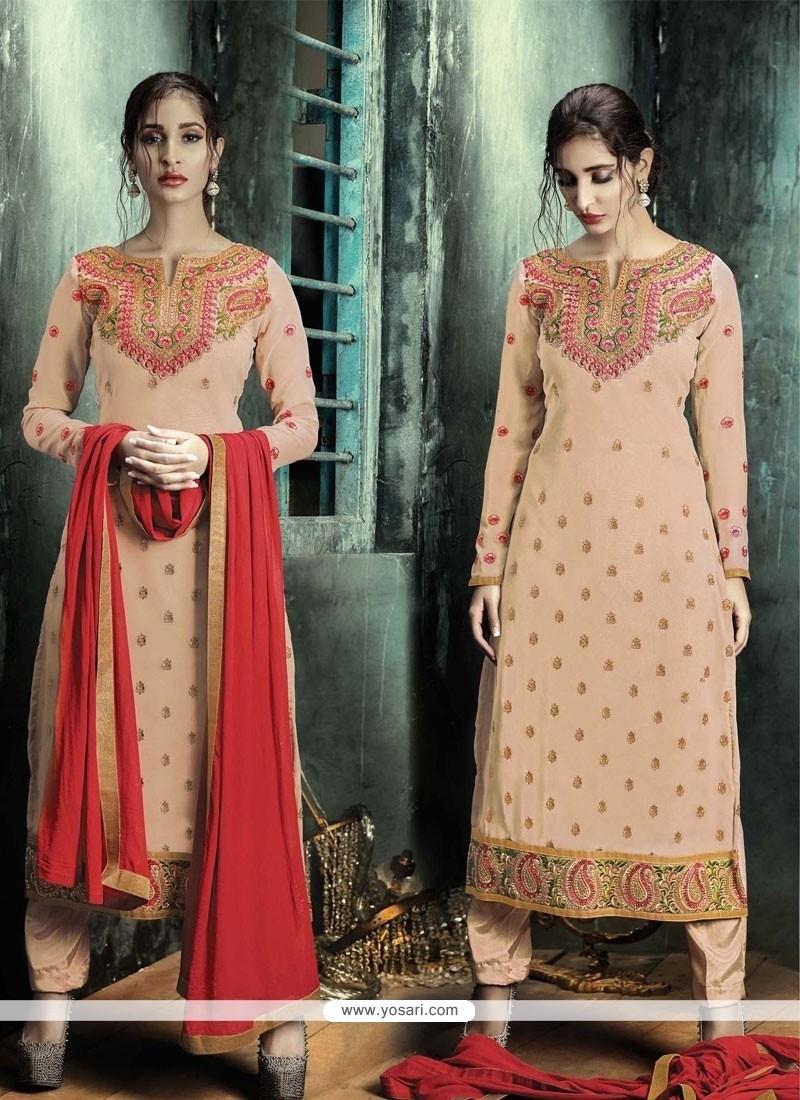 Lively Embroidered Work Designer Straight Salwar Suit