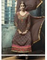 Astonishing Georgette Brown Designer Straight Salwar Kameez
