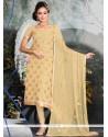 Haute Viscose Beige Zari Work Churidar Salwar Suit