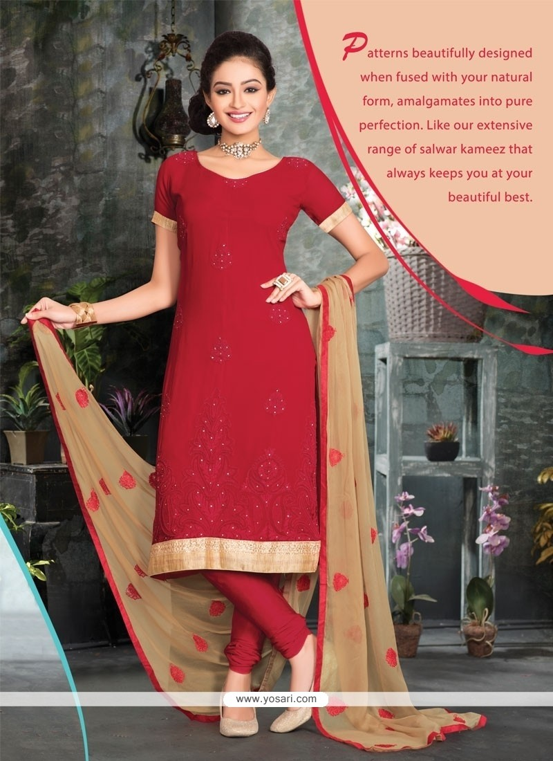 Red Viscose Churidar Salwar Suit