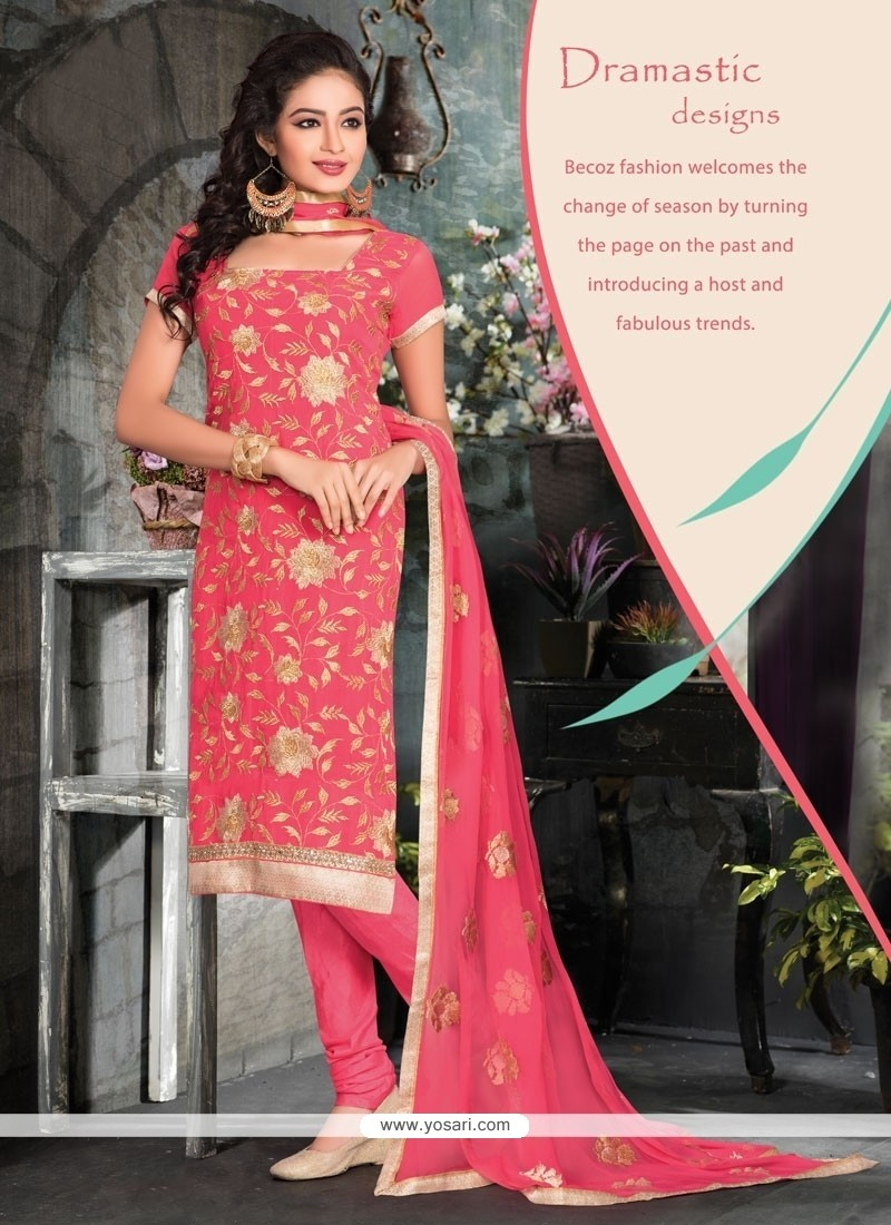 Elite Pink Churidar Designer Suit