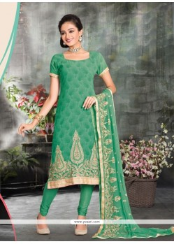 Ruritanian Green Lace Work Churidar Designer Suit